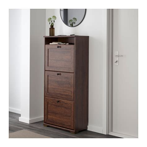 shoe armoire brusali shoe cabinet with 3 compartments brown 61x130 cm