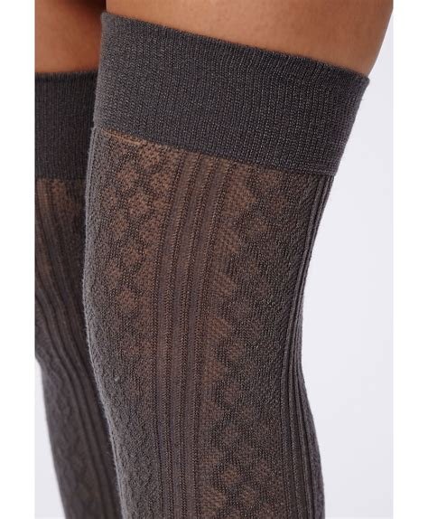 cable knit knee socks missguided mairead acrylic cable knit the knee socks