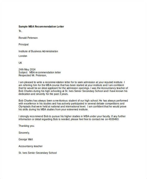 Sle Professional Recommendation Letter For Mba by Recommendation Letter For Mba Student From Employer