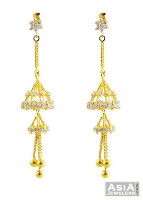 fancy jhumka earrings 2 layered fancy jhumka earrings 22k ajer57418 22k gold earrings designed in a fancy indian