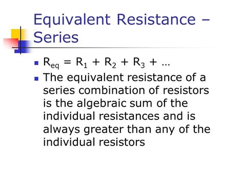 two resistors connected in series an equivalent resistance of 690 direct current circuits ppt