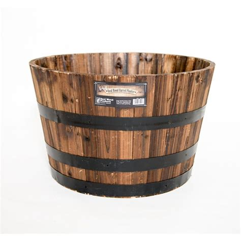 home depot barrel planter real wood 26 in dia cedar half whiskey barrel planter