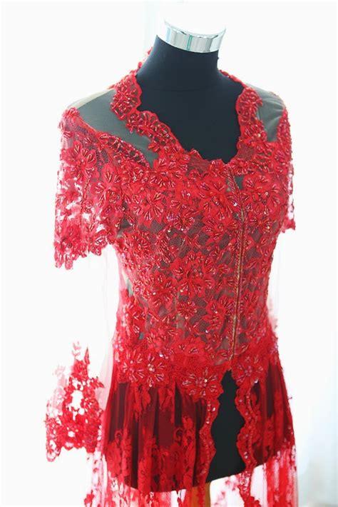 Kainbahan Tile Helly Payet Jepang inade design imperial ruby kebaya resepsi merah pengantin