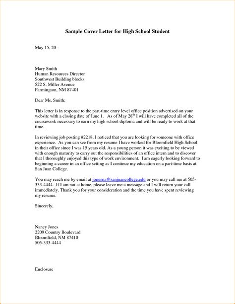 Cover Letter For A School by 9 Highschool Cover Letter Invoice Template