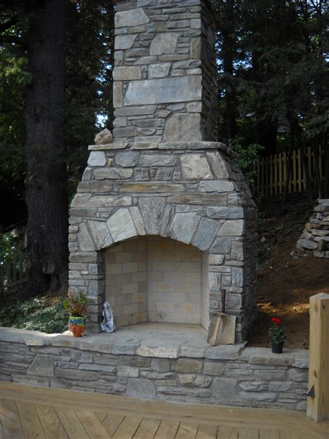 Outdoor Fireplace Stacked Tempting And Brick Living Stone Masonry Living Stone Masonry Asheville Nc