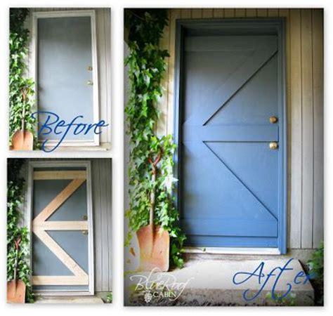 Blue Roof Cabin Turn A Plain Door Into A Barn Door Diy Blue Door Barnes