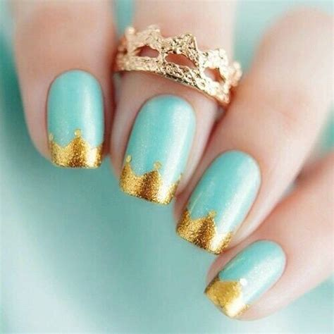 cute nail designs with a crown gold crown tipped nails pictures photos and images for