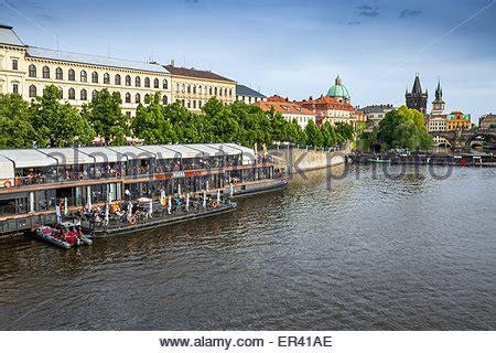 floating boat restaurant prague restaurant marina on the vltava river in prague czechia
