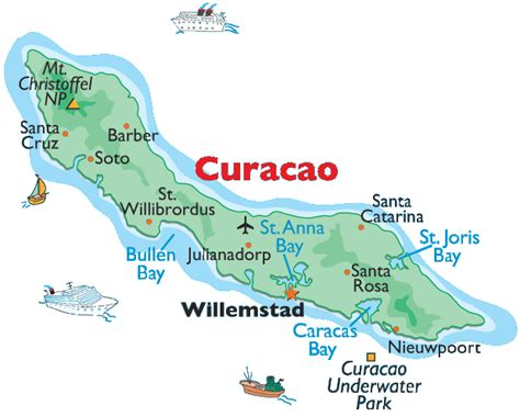 printable curacao road map maps of curacao bizbilla com