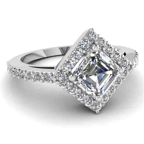 Princess Cut Halo Diamond Engagement Rings   Wedding and