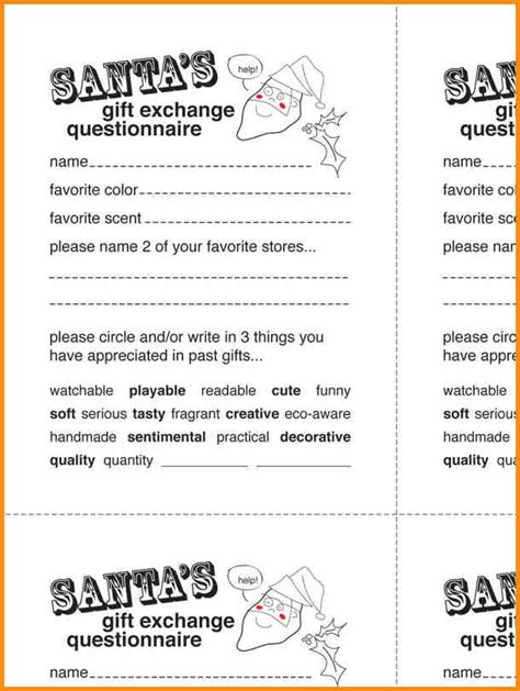 secret santa template form secret santa questionnaire template invitation template