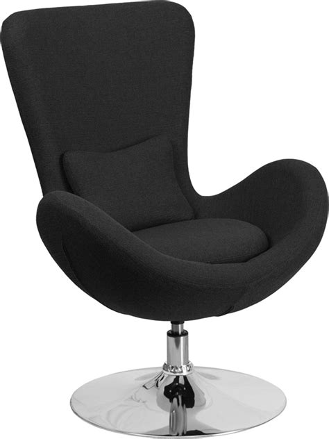Fab Flash Designer And Carpet Relations Strictly Business by Black Fabric Egg Series Reception Lounge Side Chair