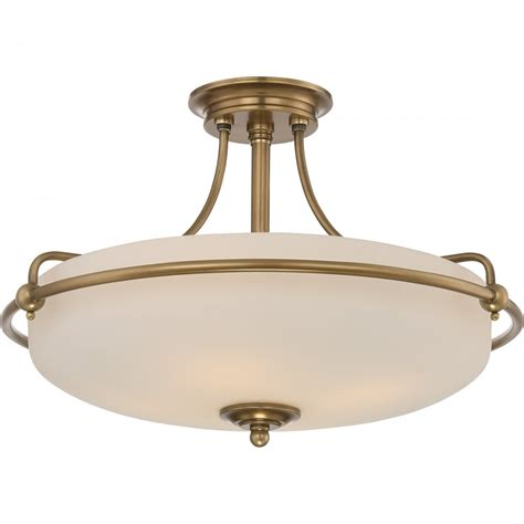 Brass Ceiling Lights Uk Weathered Brass Semi Flush Ceiling Light With Opal Glass