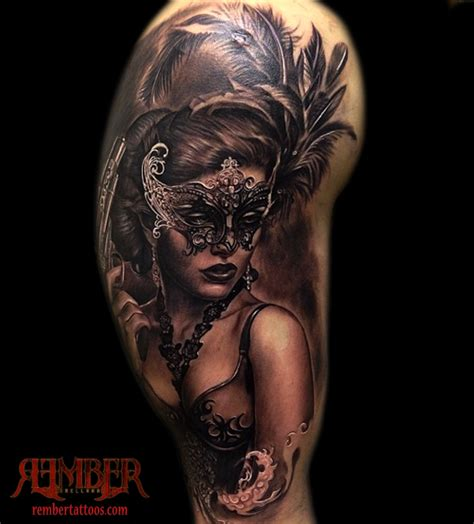 dark ages tattoo rember tattoos tattoos feminine masked portrait
