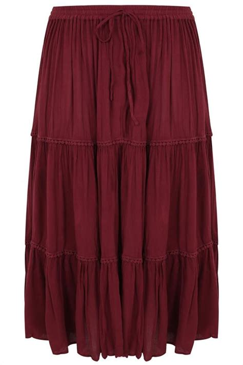 brick maxi skirt with crochet detail plus size 14 to 36