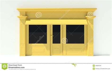 shopfront with large windows white and yellow store