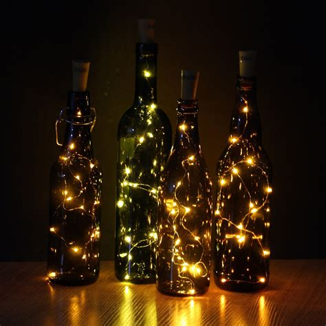 lights wine bottle jojoo set of 6 warm white wine bottle cork lights 32inch
