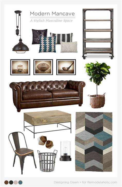 man home decor remodelaholic a modern man cave mood board