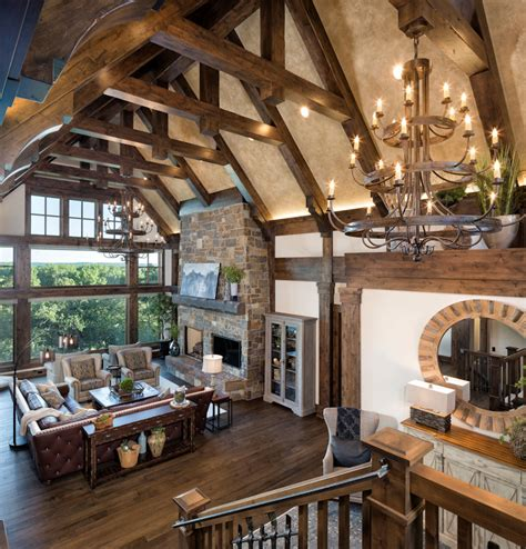 vaulted great room  beams home design