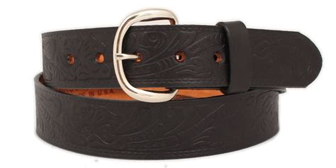 bcr b5509 black leather belt embossed floral 1 1 2 quot