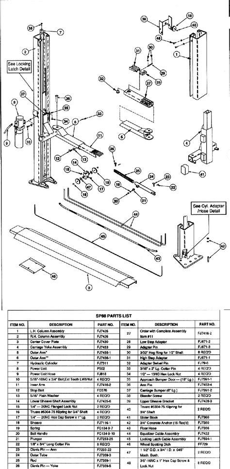 rotary lift parts breakdown wiring diagrams repair