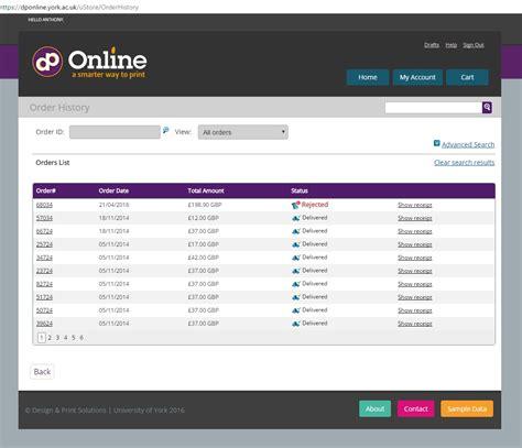 DP Online Help - My account - Order history My Online Account