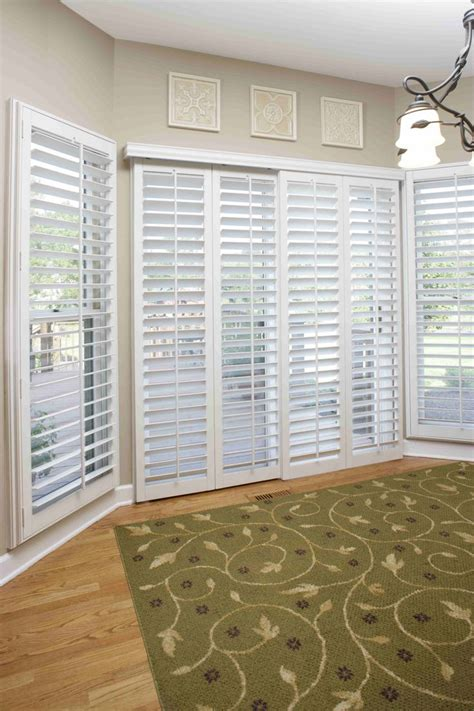 Bypass Shutters For Patio Doors by Plantation Shutters Are A Great Fit For Sliding Doors As