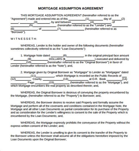 mortgage assumption agreement template sle mortgage agreement template 10 free documents in