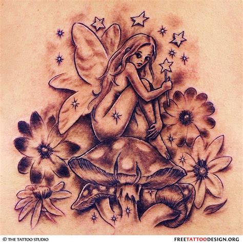 fairy and flower tattoo designs grey ink sitting on and flowers