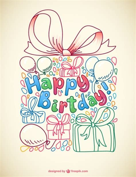 free vector birthday doodle doodle birthday card free vector 123freevectors
