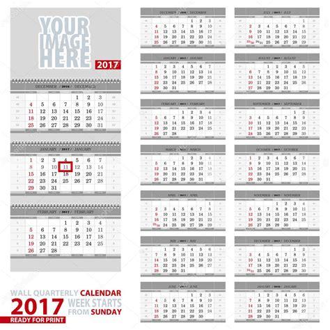 Calendario Trimestral 2017 Calend 225 De Parede Trimestral 2017 In 237 Cio Da Semana De