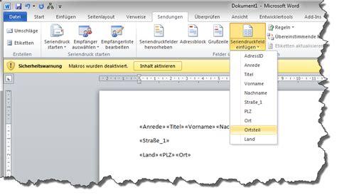 Brief Word Leerzeichen Serienbrief In Microsoft Word 2010 Maxpro Handbuch