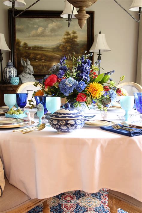setting  table  easter dinner  colorful floral place setting centerpiece meme hill