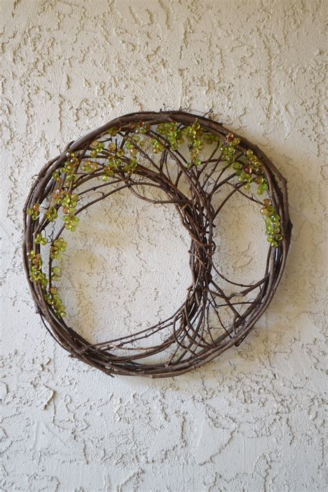 grapevine lighting of the tree tree of upcycled from a grapevine wreath diy