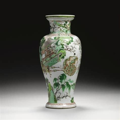 Qing Dynasty Vases by Famille Verte Baluster Vases A Large Circular Dish