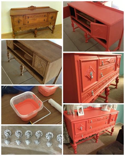 so awesome painted coral hutch chalk paint diy painted furniture popular with the poplins