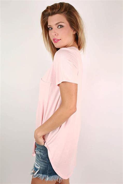 Pocket Tunik V pocket v neck tunic in baby pink impressions boutique