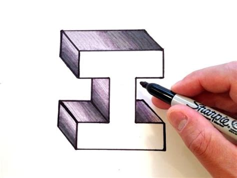 how to m how to draw the letter i in 3d