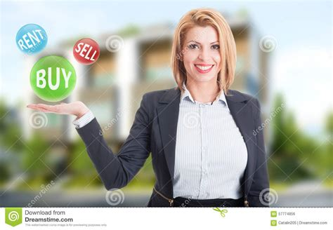 buy the house estate agents woman real estate agent holding buy sell and rent offers stock photo image 57774856