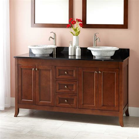 Drawer And Cabinet Pulls 60 Quot Mayfield Double Vessel Sink Vanity Medium Cherry