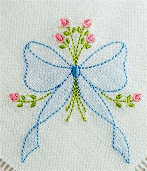 embroidery designs se1002 shadow embroidered bow with rosebud spray