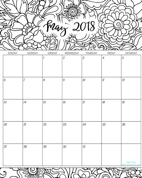 printable calendar 2018 sarah titus calendar coloring pages 2017 coloring pages ideas
