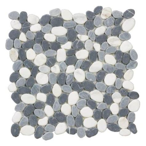 river rocks 12 in x 12 in x 8 mm marble mosaic