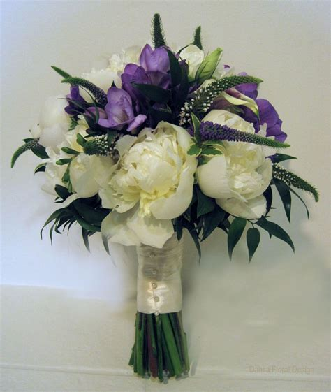 Violet Wedding Bouquet   peony purple white cream ivory