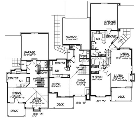 triplex plans riverview place triplex plan plan 072d 0240 house plans and more