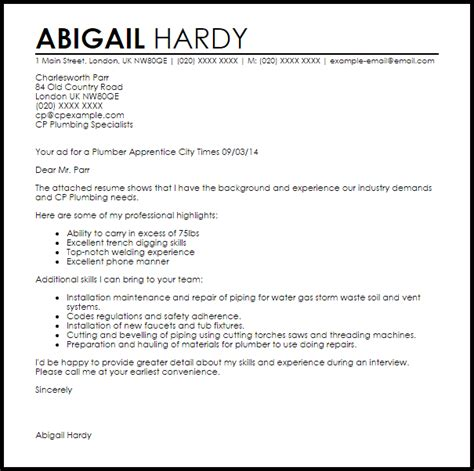 plumber apprentice cover letter sample cover letter