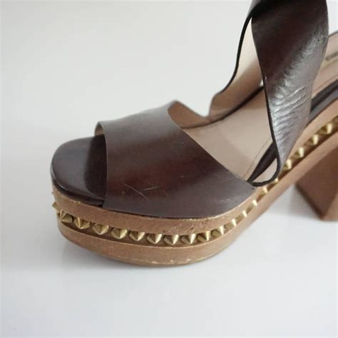 miu miu brown leather strappy sandal with wood chunky heel 41 for sale at 1stdibs