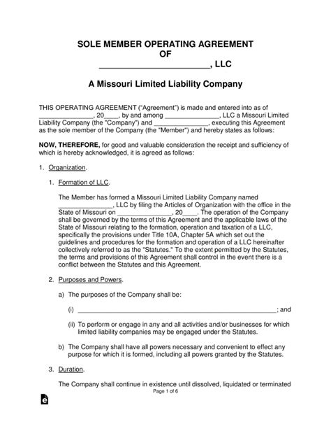 Free Missouri Single Member Llc Operating Agreement Form Word Pdf Eforms Free Fillable Forms Missouri Llc Operating Agreement Template