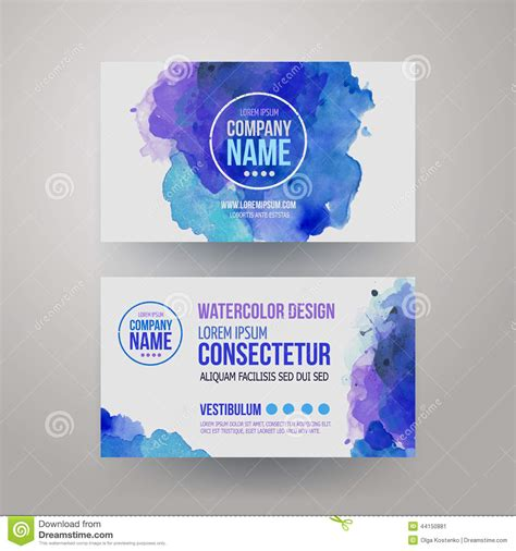 watercolor business card template free vector template watercolor business cards stock vector