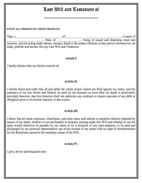 standard will template printable sle last will and testament template form